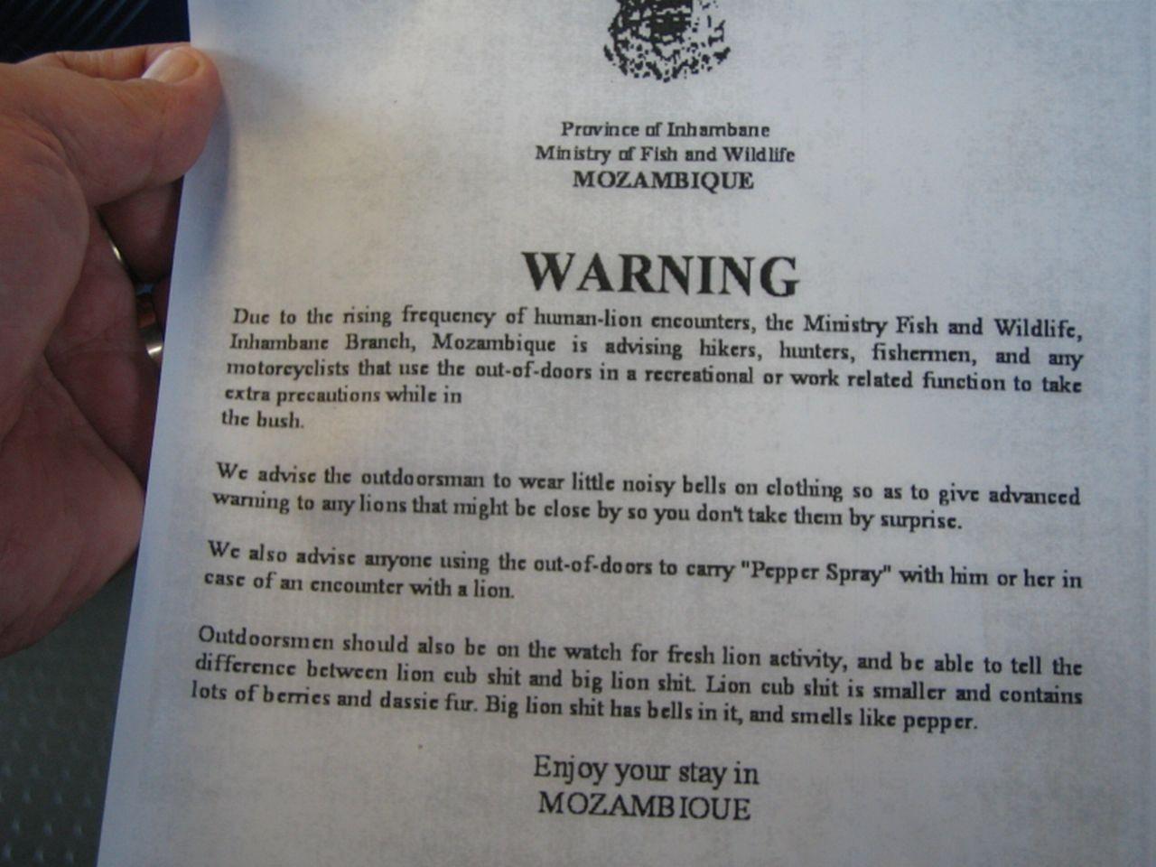 Beware of Lions