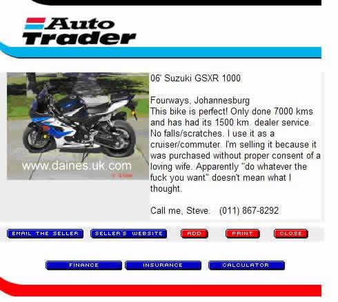 Autotrader Ad Suzuki GSXR 1000