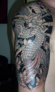 Dragon Tattoo phase two, inked at Real Art Tattoo Syston